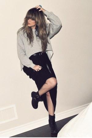 black Aldo boots - black maxi Target dress - heather gray diy thrifted sweatshir