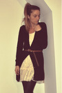 Black-h-m-cardigan-white-ebay-dress-brown-aldo-belt-beige-forever-21-shoes