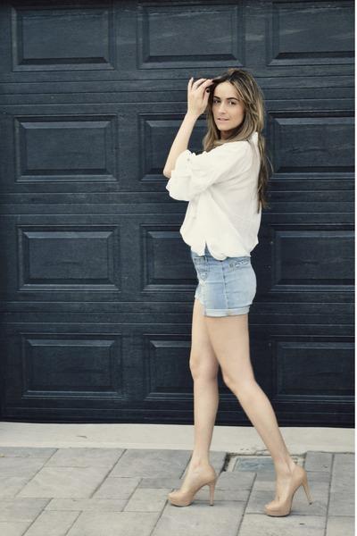 light blue H&M shorts - white loose fit Costa Blanca blouse - tan peep-toe Aldo