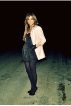 pink Ebay blazer - black H&amp;M dress - black Aldo shoes - black Aldo gloves - gold