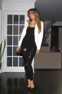White-zara-blazer-black-costa-blanca-top-black-zara-leggings-black-aldo-sh