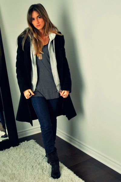 black le chateau coat - gray H&M sweater - gray Ardene top - blue Mango jeans -