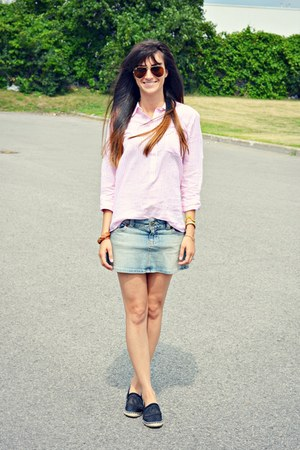 light pink stripe JCrew shirt - black espadrilles Chanel flats