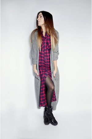 black Palladium boots - red maxi plaid Ardene shirt