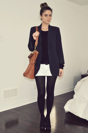 blue Forever 21 blazer - white H&amp;M shorts - black Aldo shoes - brown Ardene purs