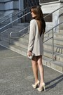 Beige-my-own-design-dress-charcoal-gray-ardene-bag-beige-patent-aldo-heels