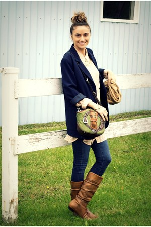 olive green Lapalette bag - tawny Aldo boots - blue skinny Joes Jeans jeans