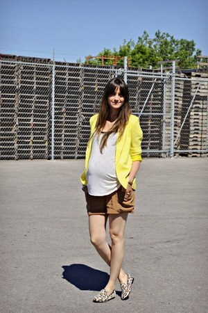 yellow necessary clothing blazer - brown silk Aritzia shorts