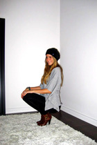 black Ardene - silver Walmart top - black Zara leggings - brown Aldo boots - Ald