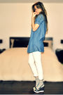 Blue-forever-21-shirt-white-sirens-jeans-gray-ardene-socks-brown-fornarina