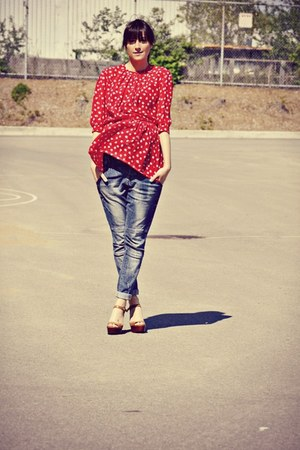 red floral peplum Market Publique blouse