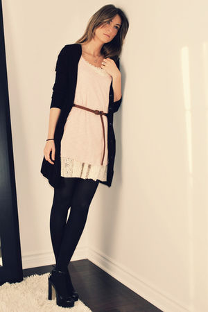 black H&M cardigan - pink Ardene top - beige Ebay dress - brown Ardene belt - bl