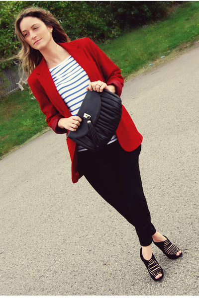 red Ralph Lauren blazer - white H&M top - black Zara pants - black Aldo shoes -