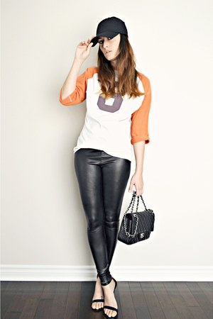 black shiny American Apparel leggings - black Lulus heels