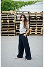 White-persunmall-top-black-wide-leg-h-m-pants