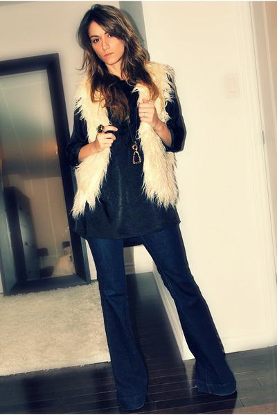 beige Forever 21 vest - black Simons blouse - blue J Brand jeans - gold Ardene &