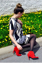 black H&M dress - red gojanecom boots - black Aldo stockings