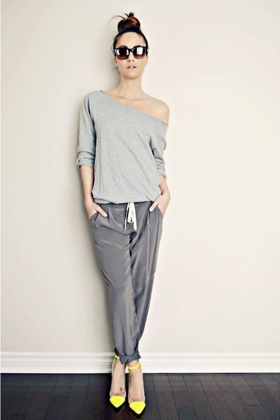 yellow GoJane heels - charcoal gray silk Aritzia pants