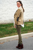 beige Zara blazer - white Ebay blouse - green H&M leggings - brown Aldo shoes -
