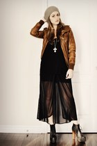 heather gray Ardene hat - tawny leather new look jacket - black sheer Value Vill