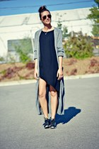 heather gray maxi knit Oasapcom cardigan - black nike sneakers