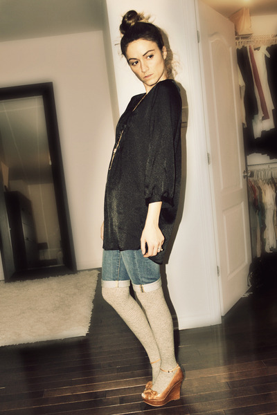 black Simons shirt - blue H&M shorts - gray H&M stockings - brown Aldo shoes - g