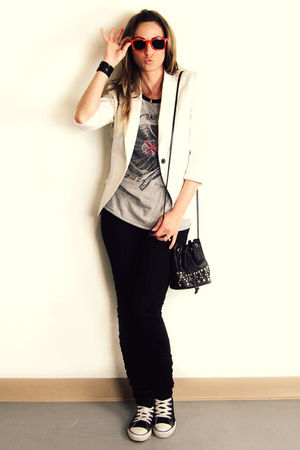white Zara blazer - gray Forever 21 top - black H&amp;M pants - black Converse shoes