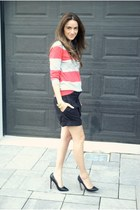 black bermuda H&M shorts - coral striped Joe Fresh sweater