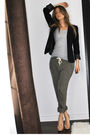 Black-sirens-blazer-gray-h-m-t-shirt-green-topshop-pants-beige-aldo-shoes-