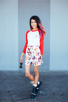 red style moi skirt - red petals and peacocks top