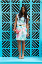 light blue vintage skirt - camel calvin klein shoes - salmon clutch Aldo bag