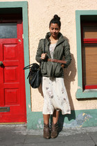 Bakers boots - vintage dress - Zara jacket - Style &amp; Co bag