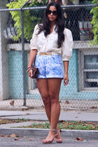 vintage shorts - suede strappy calvin klein shoes - vintage blouse