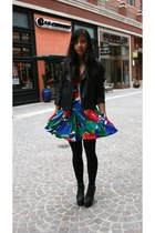 Jeffrey Campbell boots - vintage dress - rainbow jacket