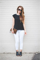 black toeless Steve Madden boots - white cropped Old Navy jeans