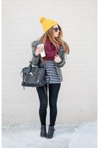 dark khaki parka Aritzia coat - black Topshop jeans - mustard beanie Target hat