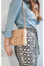 Light-blue-chambray-h-m-shirt-nude-leather-rebecca-minkoff-purse