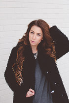 black faux fur Topshop jacket - black Target boots - gray cotton Topshop dress