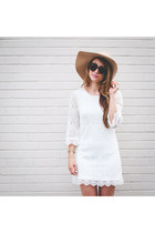 white lace H&M dress - nude peep toe Target boots