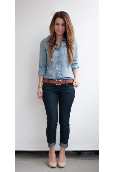 denim American Eagle jeans - chambray H&M shirt - leather banana republic pumps