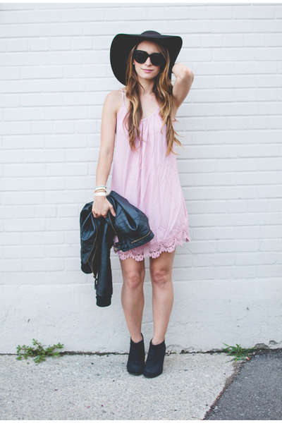 light pink slip Forever 21 dress - black felt Forever 21 hat