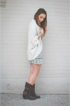 dark brown leather Frye boots - navy lace Urban Outfitters dress