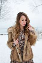 brown faux fur asos coat - black booties Target boots