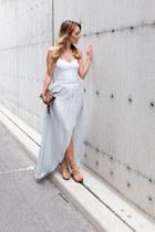 silver maxi Zara skirt - white bustier Aritzia shirt