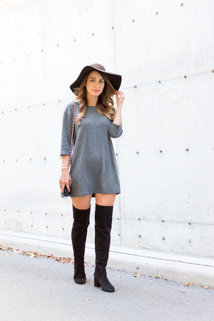 black wide brim American Apparel hat - black Zara boots