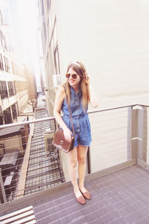 blue thrifted romper - eggshell vintage scarf - brown vintage bag