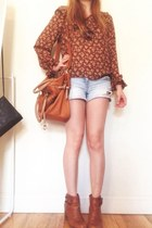 burnt orange vintage blouse - burnt orange boots - light orange Secondhand bag