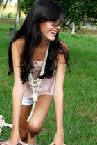 light pink lace top - white cotton thats it shorts - pearl necklace