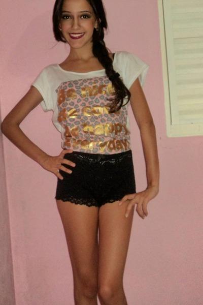 black shorts - white blouse