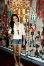 Silver-necklace-jeans-shorts-brown-sunglasses-white-blouse